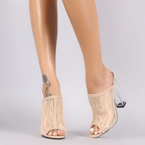 Shoes - NEW OPEN TOE NUDE LACE CHUNKY CLEAR HEELS